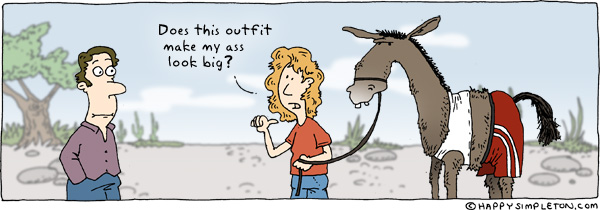 Description: A woman showing a donkey dressed in a tanktop and shorts to a passerby. Caption: Does this outfit make my ass look big?