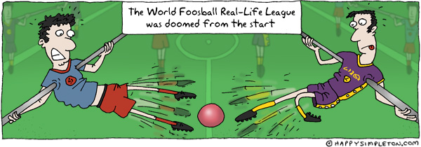 Description: People mounted like foosball players, unable to reach the ball. Caption: The World Real-Life Foosball League was doomed from the start