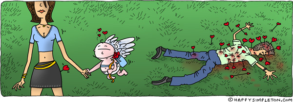 Description: Cupid is in love on Valentines Day.  He has used his arrows for good (and evil).. Caption: